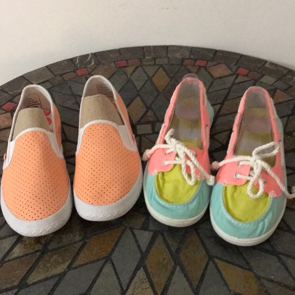 Roxy Shoes   2 Pairs Of Canvas Slip Ons